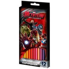 Карандаши цветные Marvel Мстители 12 цв.