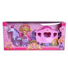 Карета розовая с куклой, свет , звук