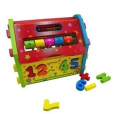 Домик-кубик развивающий сортер и головоломка, кор.