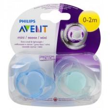 Phillips-Avent SCF151/01 Пустышка силиконовая мини для мальчика, 0-2 мес. (2шт)