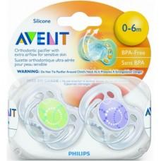 Phillips-Avent SCF180/23 Пустышка силиконовая FREEFLOW Дизайн 0-6 мес. (уп.2шт) BPA-Free