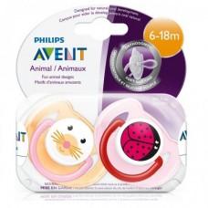 Phillips-Avent SCF182/24 Пустышка силиконовая Домашние животные 6-18 мес. (уп.2шт) ВРА-Free
