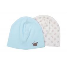 Комплект из 2-х шапок 17-3019 Маленький принц Мамуляндия (Интерлок разм. 52 молочно/голубой)