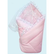 Конверт-одеяло на выписку сатин жакард розовое