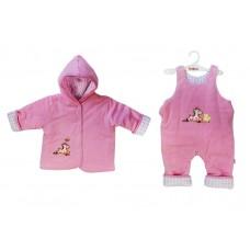 Комплект на синтепоне Розовый 80 рост (куртка с капюшоном и полукомбинезон) 53-5021
