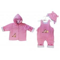 Комплект 3 пр. на синтепоне Розовый 74 р. (куртка с капюшоном, полукомбинезон, шапочка) И53-5022