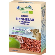 Каша Органик гречневая молочная с яблоком 4 мес. 175г Флёр Альпин