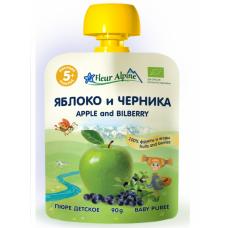 """Пюре Органик яблоко-черника """"Флёр Альпин """" м/у 90 г"""