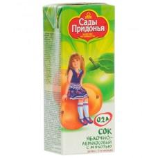 Сады Придонья - сок  яблочно-абрикосовый с мяк. (тетра пак), 5 мес, 200г