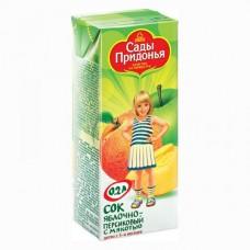 Сады Придонья - сок  яблочно-персиковый с мяк (тетра пак) 200